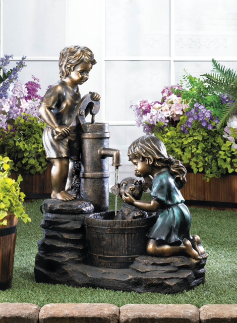 Whimsical Doggy Wash Garden Fountain
