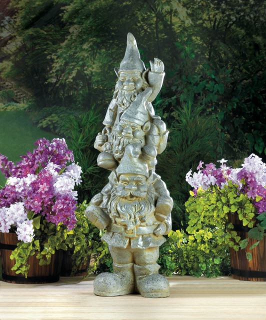 Stacked Gnome Garden Statue