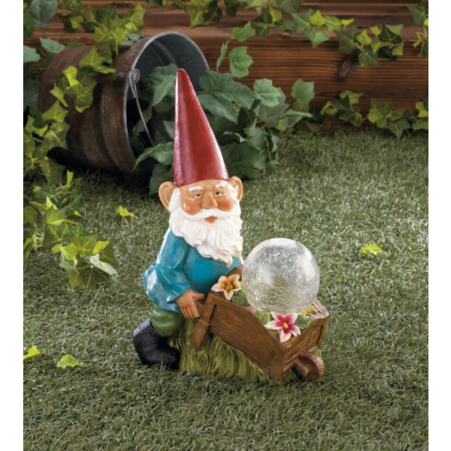 Solar Garden Gnome with Wheel Barrel