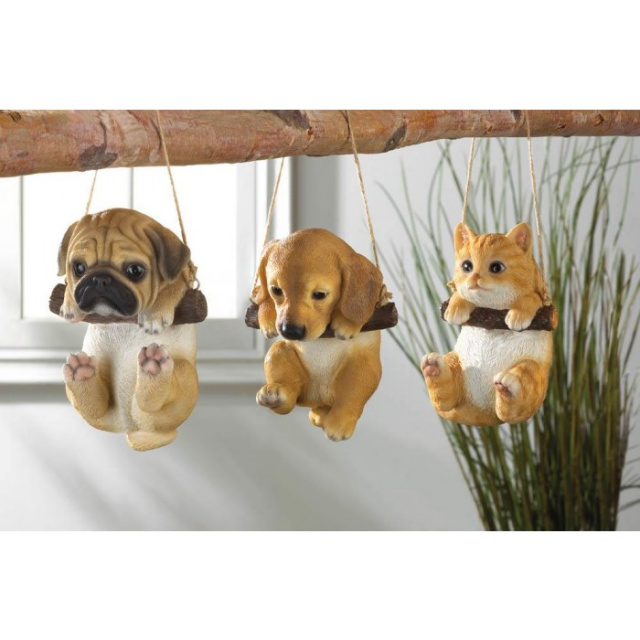 Adorable Swinging Puppy Garden Accent