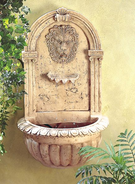 Wall fountain lion for Garden decor accents