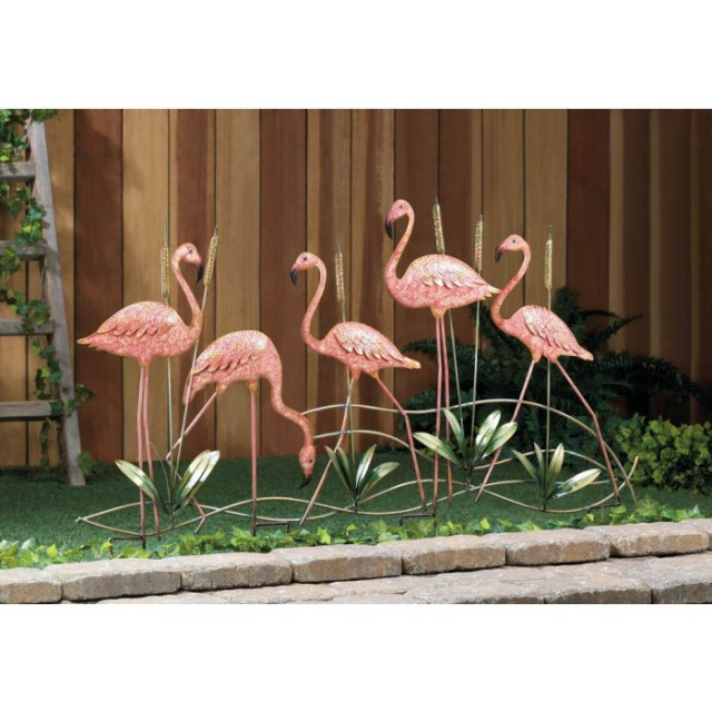 Whimsical Flamingo Garden Accent