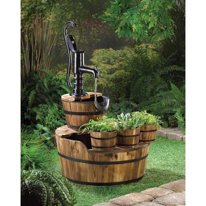 Rustic Fountain with Planters