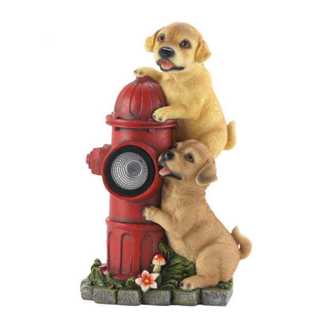 Enchanting Dogs and Fire Hydrant Solar Garden Accent