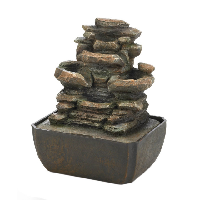 Tiered Rock Tabletop Fountain